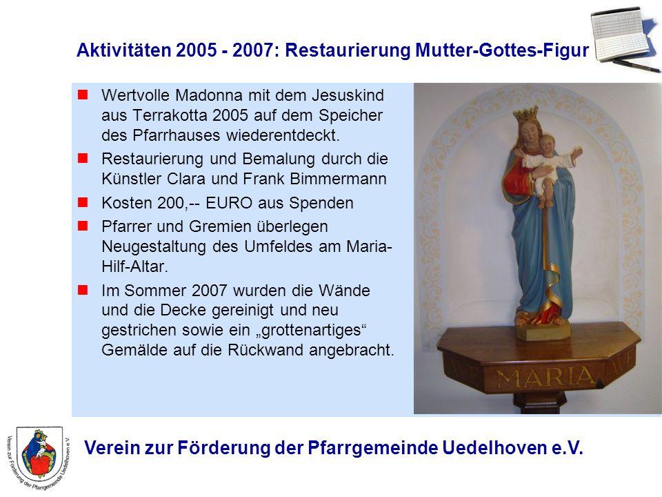 Verein zur Förderung der Pfarrgemeinde Uedelhoven e.V. Aktivitäten 2005 - 2007: Restaurierung Mutter-Gottes-Figur Wertvolle Madonna mit dem Jesuskind