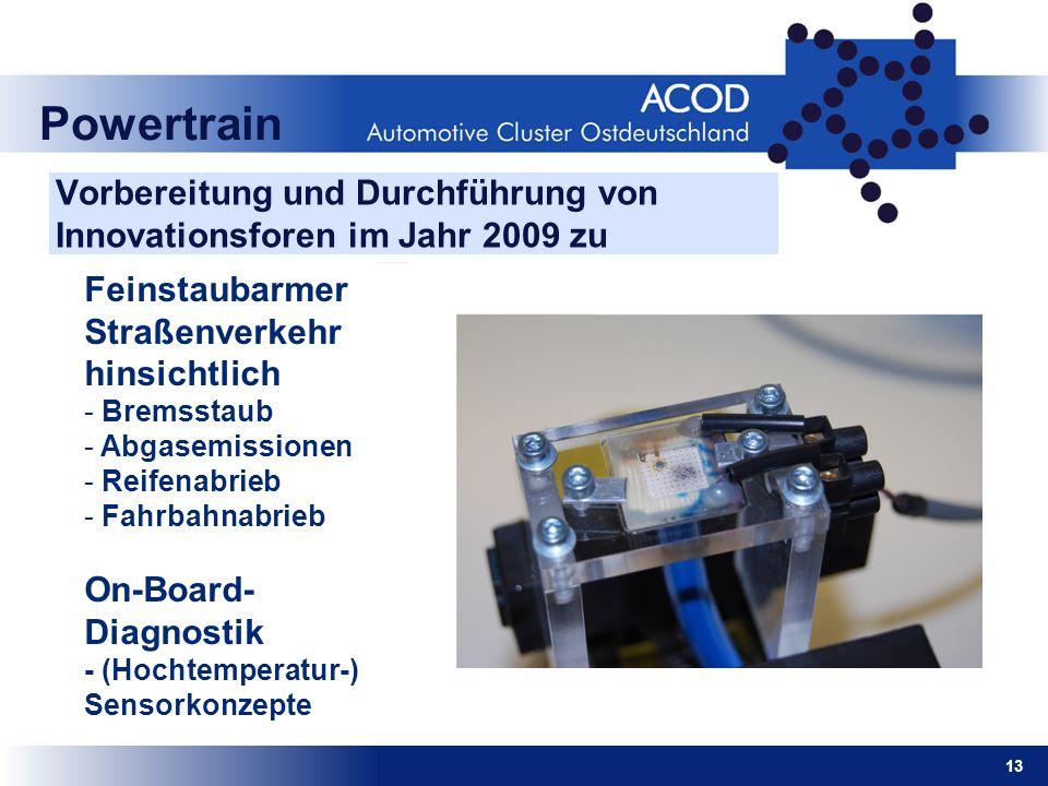 13 Powertrain Vorbereitung und Durchführung von Innovationsforen im Jahr 2009 zu Feinstaubarmer Straßenverkehr hinsichtlich - Bremsstaub - Abgasemissi