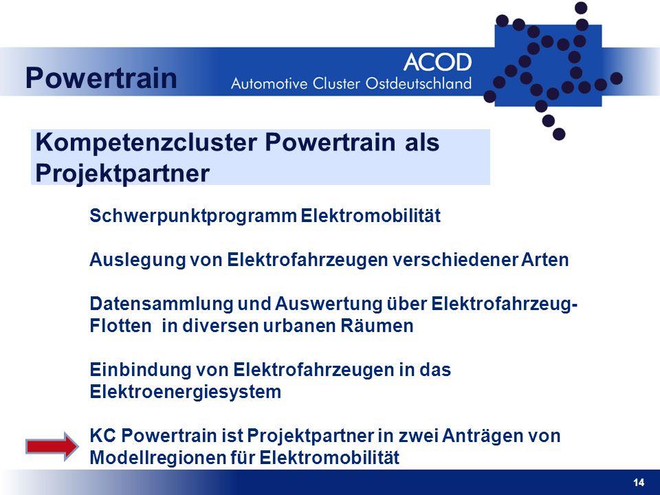 14 Powertrain Kompetenzcluster Powertrain als Projektpartner Schwerpunktprogramm Elektromobilität Auslegung von Elektrofahrzeugen verschiedener Arten