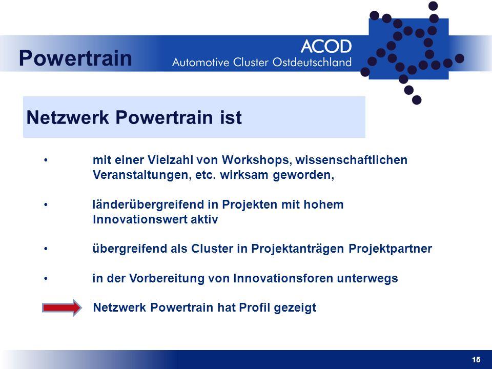 15 Powertrain Netzwerk Powertrain ist mit einer Vielzahl von Workshops, wissenschaftlichen Veranstaltungen, etc. wirksam geworden, länderübergreifend