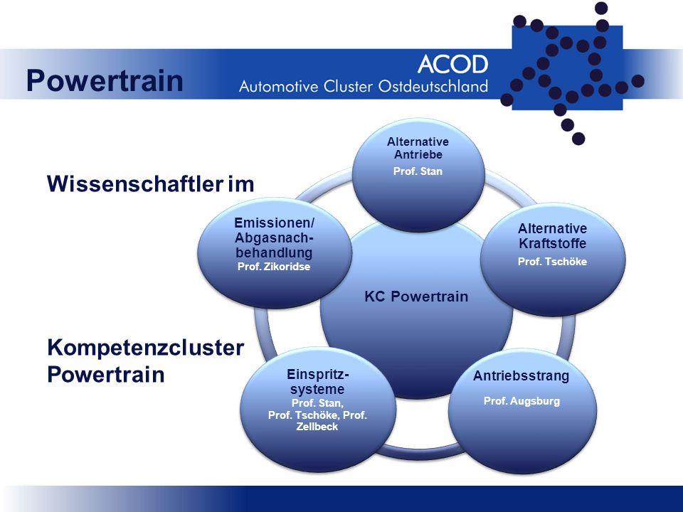 Wissenschaftler im Kompetenzcluster Powertrain KC Powertrain Alternative Antriebe Prof. Stan Alternative Kraftstoffe Prof. Tschöke Antriebsstrang Prof