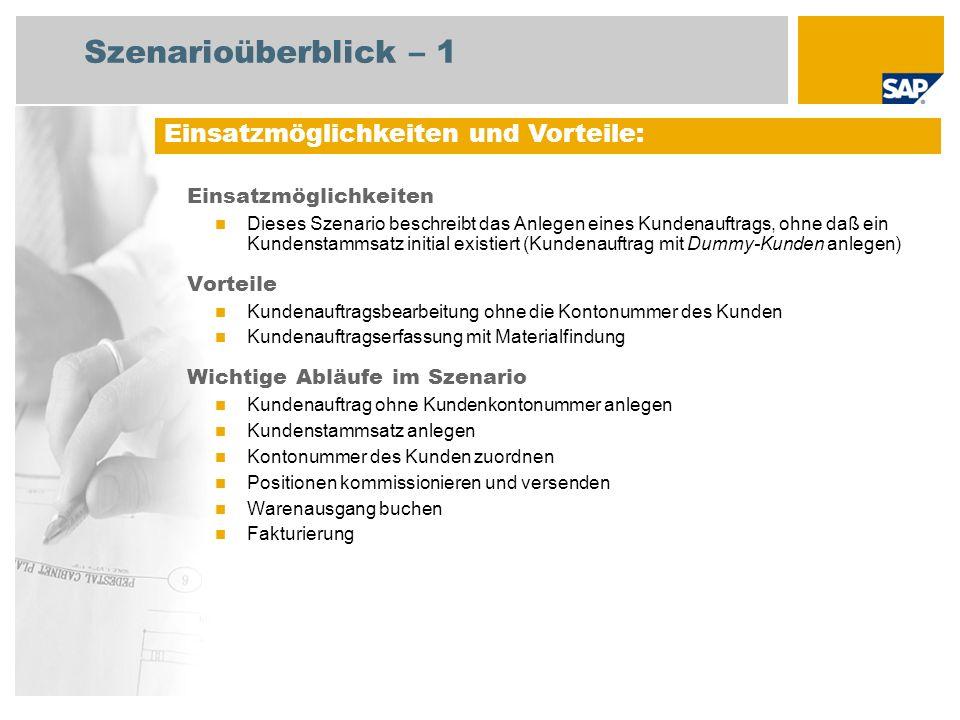 Szenarioüberblick – 2 Erforderlich Enhancement package 5 for SAP ERP 6.0 An den Abläufen beteiligte Benutzerrollen Sachbearbeiter Vertrieb Lagermitarbeiter Sachbearbeiter Fakturierung Debitorenbuchhalter Erforderliche SAP-Anwendungen: