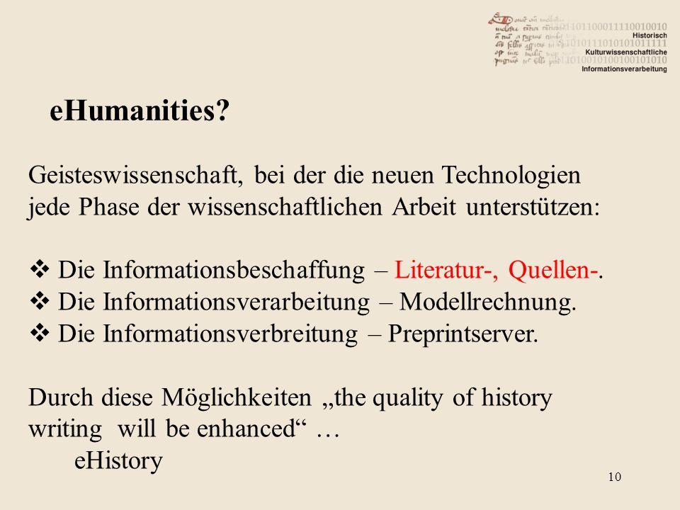 Geisteswissenschaft, bei der die neuen Technologien jede Phase der wissenschaftlichen Arbeit unterstützen: Die Informationsbeschaffung – Literatur-, Quellen-.