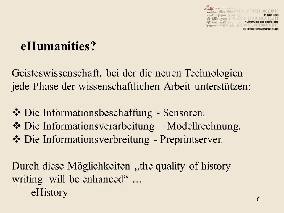 Geisteswissenschaft, bei der die neuen Technologien jede Phase der wissenschaftlichen Arbeit unterstützen: Die Informationsbeschaffung - Sensoren.