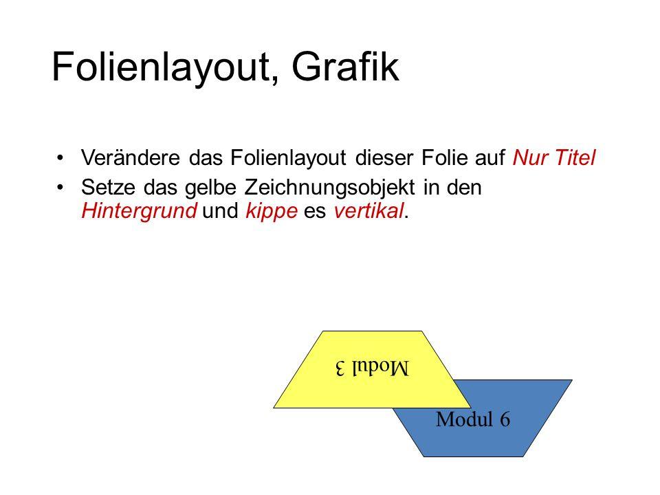 Folienlayout, Grafik Verändere das Folienlayout dieser Folie auf Nur Titel Setze das gelbe Zeichnungsobjekt in den Hintergrund und kippe es vertikal.