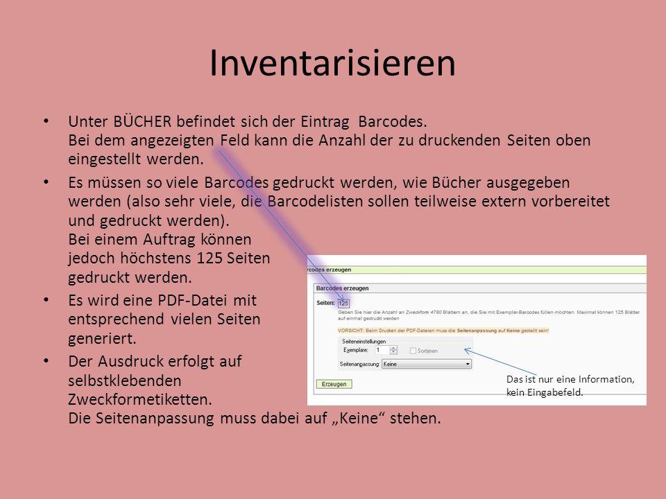 Inventarisieren Unter BÜCHER befindet sich der Eintrag Barcodes.
