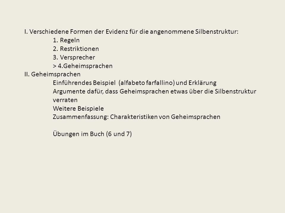I. Verschiedene Formen der Evidenz für die angenommene Silbenstruktur: 1. Regeln 2. Restriktionen 3. Versprecher > 4.Geheimsprachen II. Geheimsprachen
