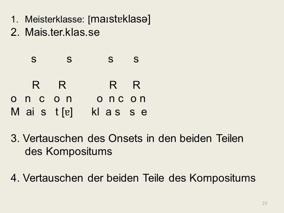 23 1.Meisterklasse: [ ma ɪ st ɐ klasə] 2.Mais.ter.klas.se s s s s R R R R onc o n o n c o n M ai s t [ ɐ ] kl a s s e 3. Vertauschen des Onsets in den