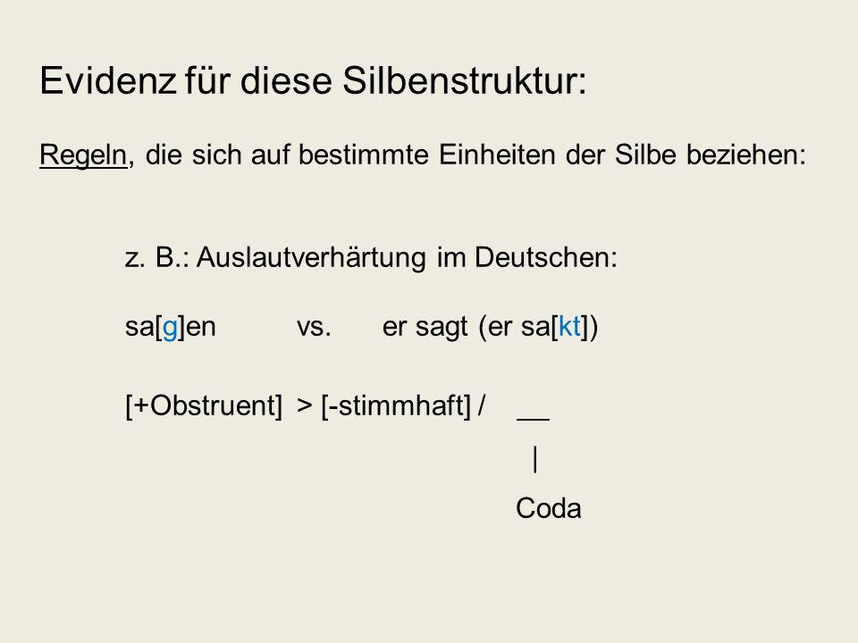 Evidenz für diese Silbenstruktur: Regeln, die sich auf bestimmte Einheiten der Silbe beziehen: z. B.: Auslautverhärtung im Deutschen: sa[g]en vs. er s