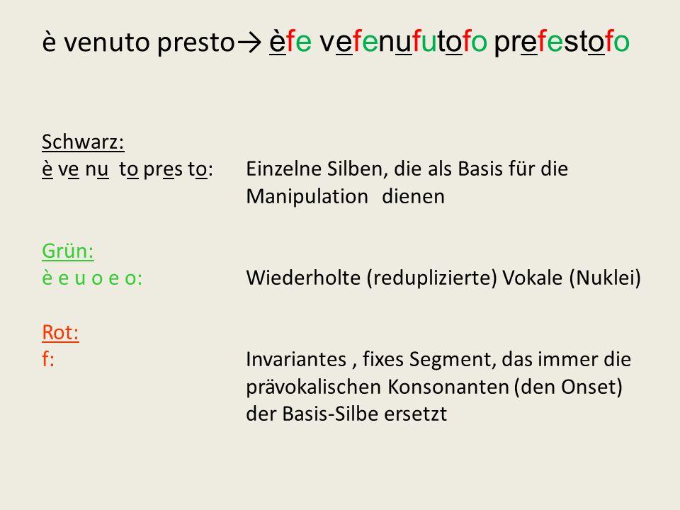 Schwarz: è ve nu to pres to: Einzelne Silben, die als Basis für die Manipulation dienen Grün: è e u o e o: Wiederholte (reduplizierte) Vokale (Nuklei)