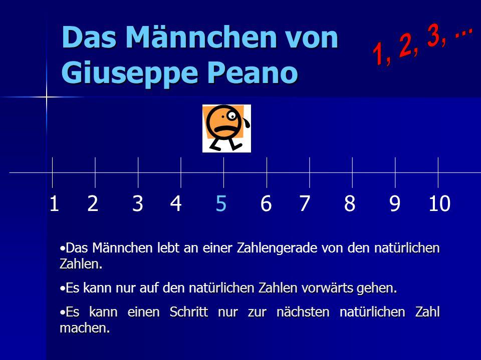 Das Männchen von Giuseppe Peano 1 2 3 4 5 6 7 8 9 10 ürlichen ZahlenDas Männchen lebt an einer Zahlengerade von den natürlichen Zahlen. ürlichen Zahle