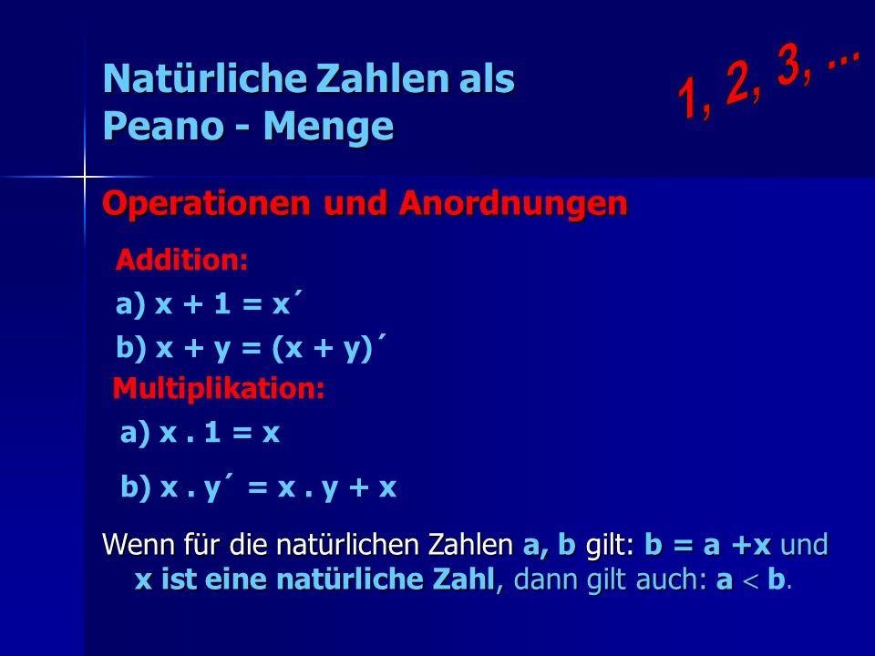 Natürliche Zahlen als Peano - Menge Addition: a) x + 1 = x´ b) x + y = (x + y)´ Wenn für die natürlichen Zahlen a, b gilt: b = a +x und x ist eine nat