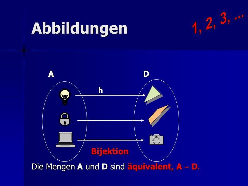 Nat ürliche Zahlen wie Kardinalzahlen S - das Mengensystem Kardinalzahl A = {X S ; X A} A = D A = D Nat ürliche Zahlen sind Kardinalzahlen von allen Mengen, die endlich und nicht leer sind.