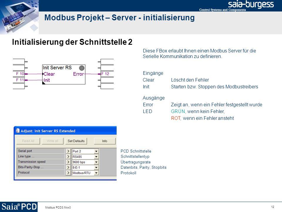 12 Modbus PCD3.Mxx0 Modbus Projekt – Server - initialisierung Initialisierung der Schnittstelle 2 Diese FBox erlaubt Ihnen einen Modbus Server für die Serielle Kommunikation zu definieren.