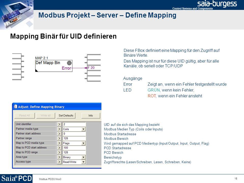 15 Modbus PCD3.Mxx0 Modbus Projekt – Server – Define Mapping Mapping Binär für UID definieren Diese FBox definiert eine Mapping für den Zugriff auf Binäre Werte.