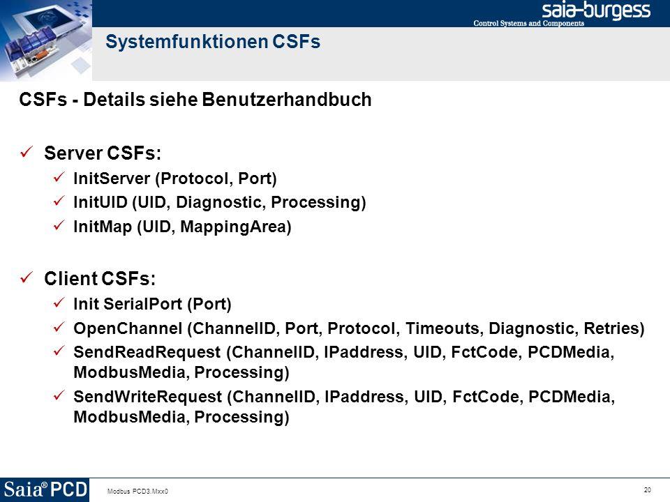 20 Modbus PCD3.Mxx0 Systemfunktionen CSFs CSFs - Details siehe Benutzerhandbuch Server CSFs: InitServer (Protocol, Port) InitUID (UID, Diagnostic, Processing) InitMap (UID, MappingArea) Client CSFs: Init SerialPort (Port) OpenChannel (ChannelID, Port, Protocol, Timeouts, Diagnostic, Retries) SendReadRequest (ChannelID, IPaddress, UID, FctCode, PCDMedia, ModbusMedia, Processing) SendWriteRequest (ChannelID, IPaddress, UID, FctCode, PCDMedia, ModbusMedia, Processing)
