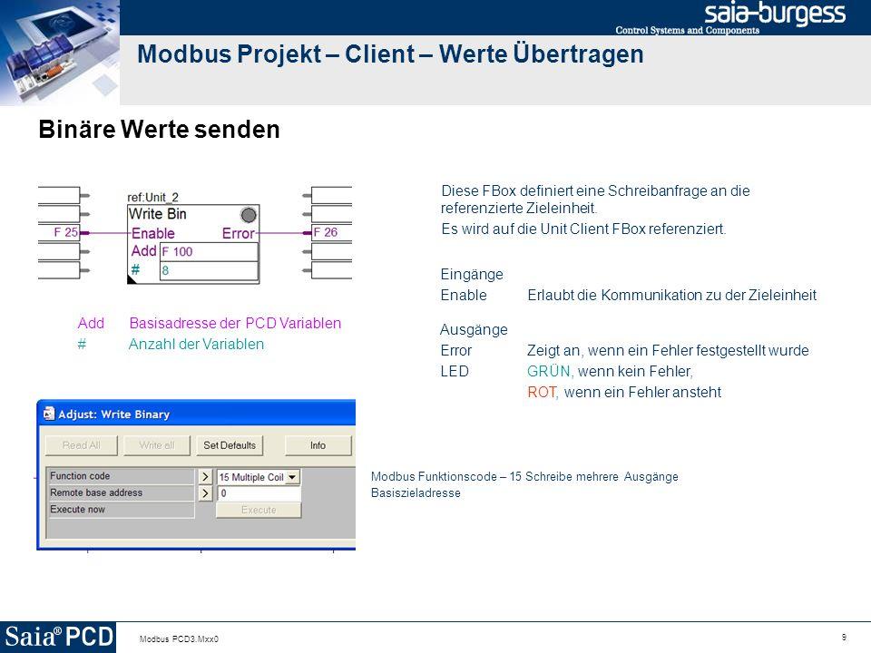 9 Modbus PCD3.Mxx0 Modbus Projekt – Client – Werte Übertragen Binäre Werte senden Diese FBox definiert eine Schreibanfrage an die referenzierte Zieleinheit.