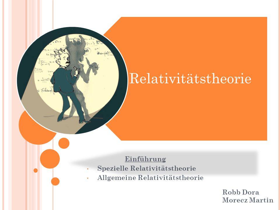 Einführung Spezielle Relativitätstheorie Allgemeine Relativitätstheorie Relativitätstheorie Robb Dora Morecz Martin