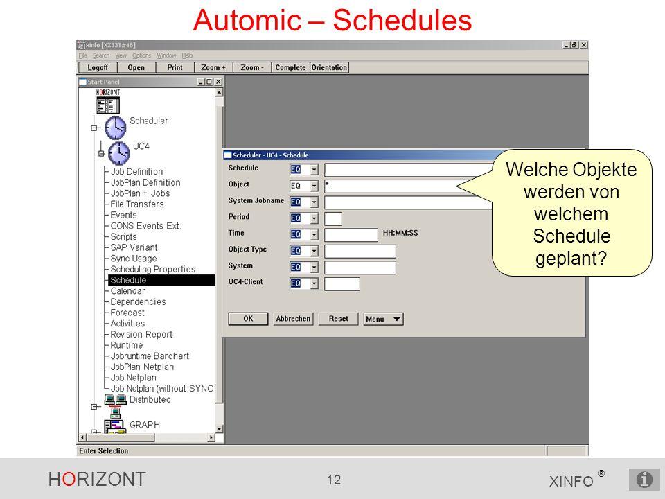 HORIZONT 12 XINFO ® Automic – Schedules Welche Objekte werden von welchem Schedule geplant?