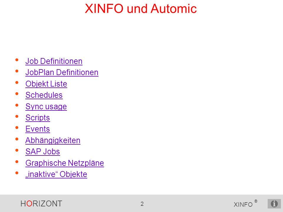 HORIZONT 2 XINFO ® XINFO und Automic Job Definitionen JobPlan Definitionen Objekt Liste Schedules Sync usage Scripts Events Abhängigkeiten SAP Jobs Gr