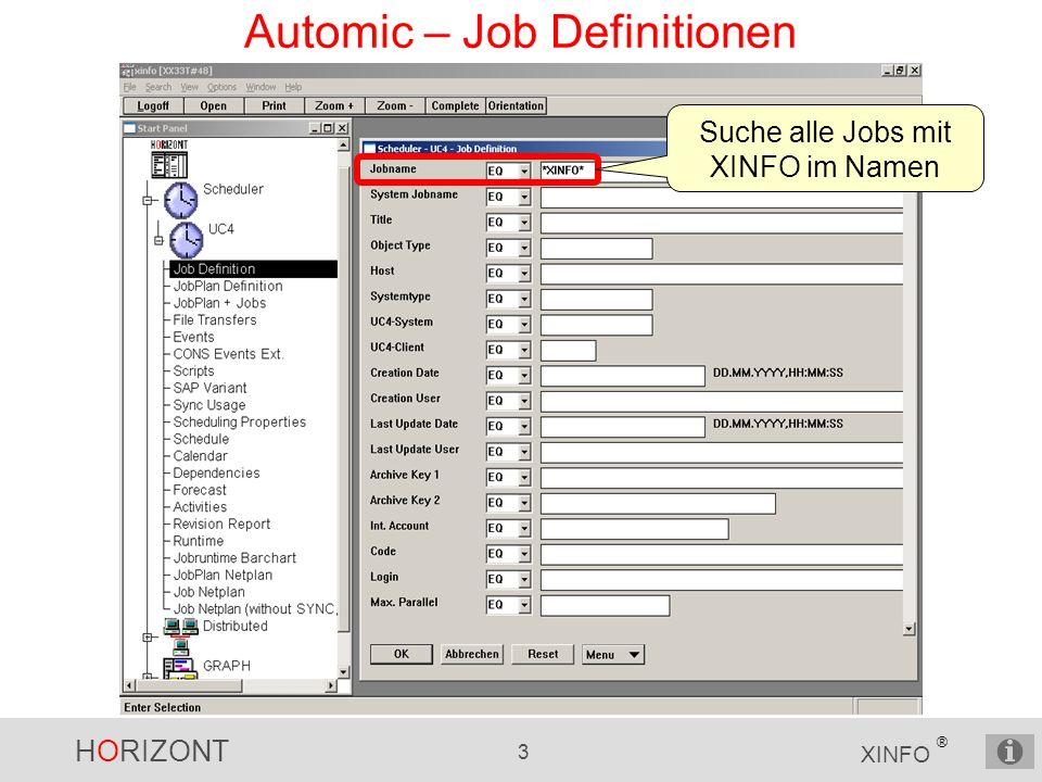 HORIZONT 24 XINFO ® Automic – Netzplan Beispiel Master-Plan mit 2 Plänen Plan mit SCRI, 3 Plänen + CALL Plan mit 2 SCRI, EVNT, 3 JOBS + JOBF