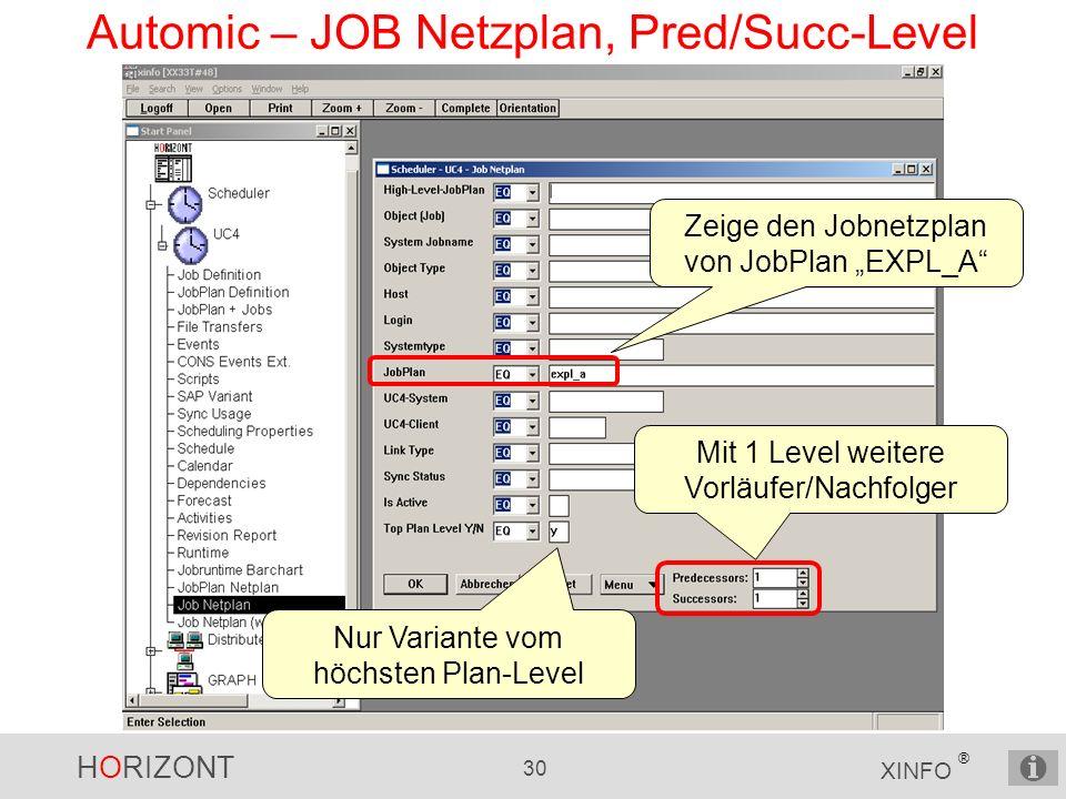 HORIZONT 30 XINFO ® Automic – JOB Netzplan, Pred/Succ-Level Zeige den Jobnetzplan von JobPlan EXPL_A Mit 1 Level weitere Vorläufer/Nachfolger Nur Vari