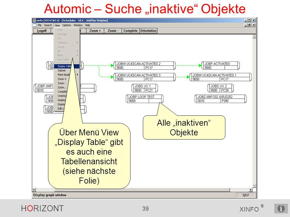HORIZONT 39 XINFO ® Automic – Suche inaktive Objekte Alle inaktiven Objekte Über Menü View Display Table gibt es auch eine Tabellenansicht (siehe näch