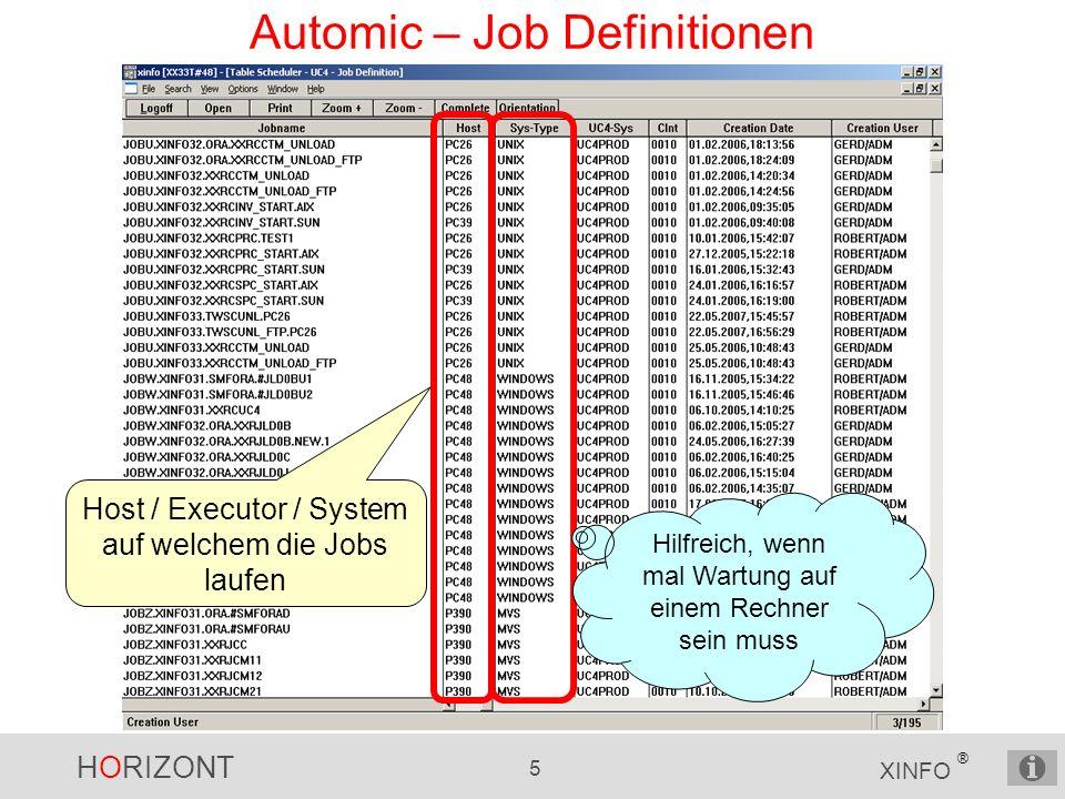 HORIZONT 5 XINFO ® Automic – Job Definitionen Host / Executor / System auf welchem die Jobs laufen Hilfreich, wenn mal Wartung auf einem Rechner sein