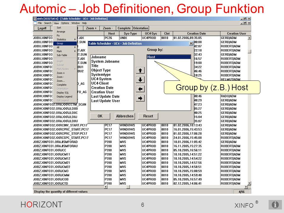HORIZONT 27 XINFO ® Automic – JOB Netzplan Zoom Im Jobnetzplan stellt sich der Example-Master so dar: Die JOBPläne sind aufgelöst (expanded) und die Planabhängigkeiten über die END-START Objekte verknüpft.