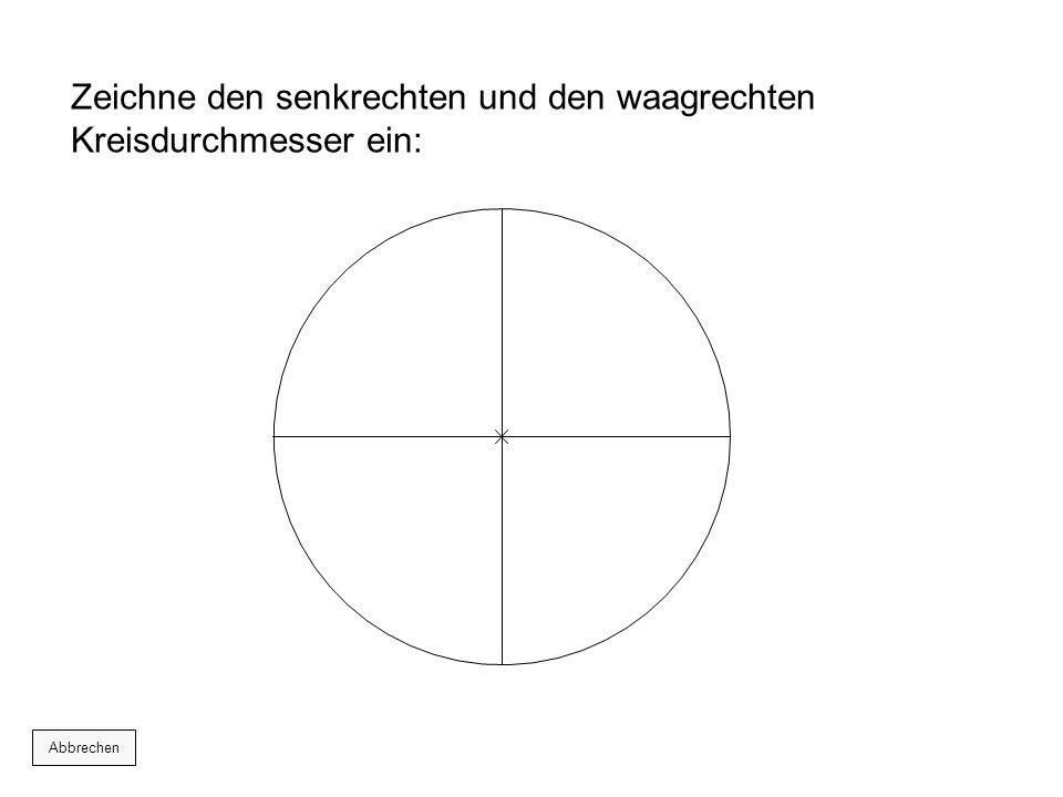 Zeichne den senkrechten und den waagrechten Kreisdurchmesser ein: Abbrechen
