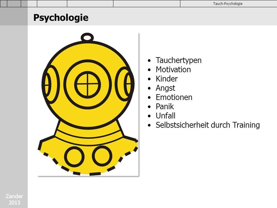 Zander 2013 Tauch-Psychologie Tauchertypen Motivation Kinder Angst Emotionen Panik Unfall Selbstsicherheit durch Training Psychologie