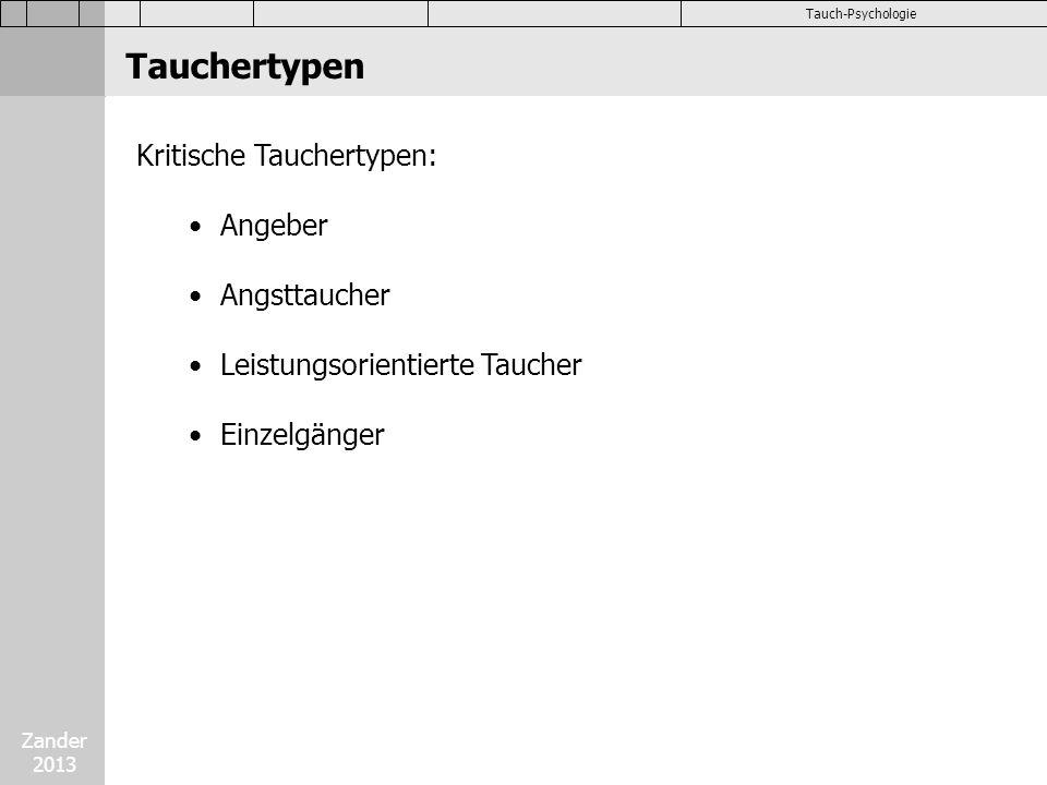 Zander 2013 Tauch-Psychologie Kritische Tauchertypen: Angeber Angsttaucher Leistungsorientierte Taucher Einzelgänger Tauchertypen