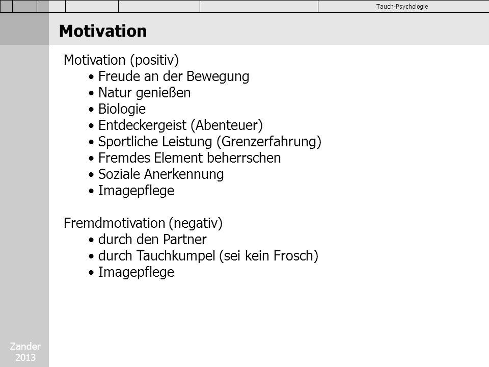 Zander 2013 Tauch-Psychologie Motivation (positiv) Freude an der Bewegung Natur genießen Biologie Entdeckergeist (Abenteuer) Sportliche Leistung (Gren