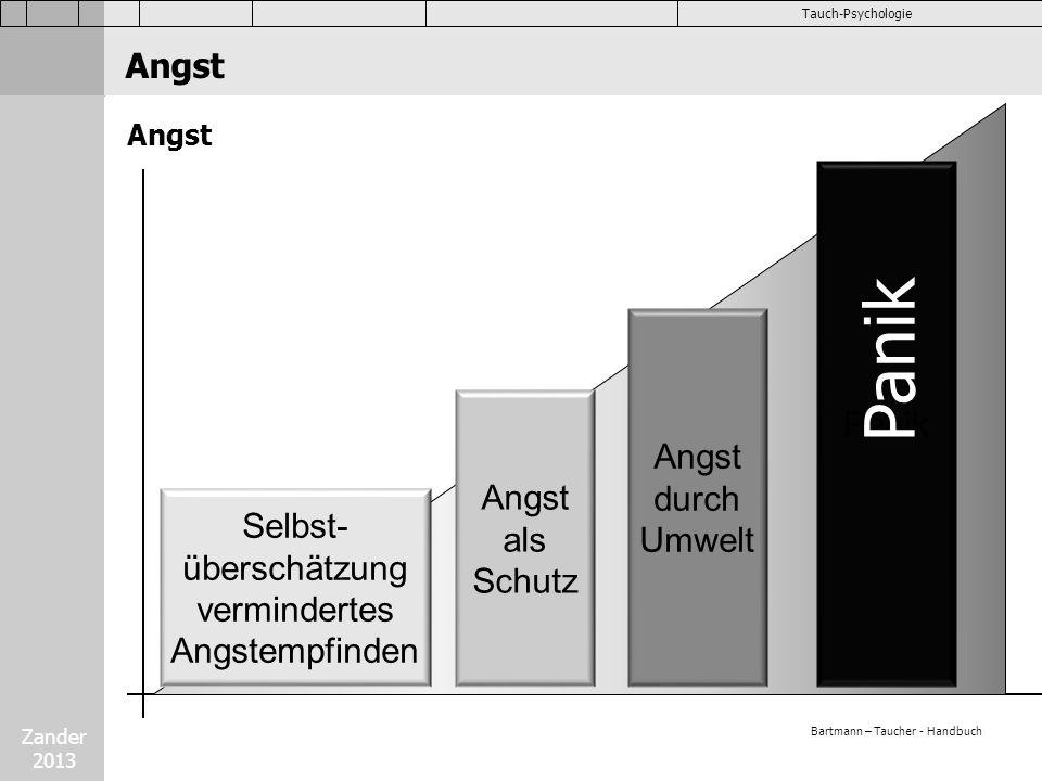 Zander 2013 Tauch-Psychologie Angst Selbst- überschätzung vermindertes Angstempfinden Angst als Schutz Angst durch Umwelt Panik Angst Panik Bartmann –