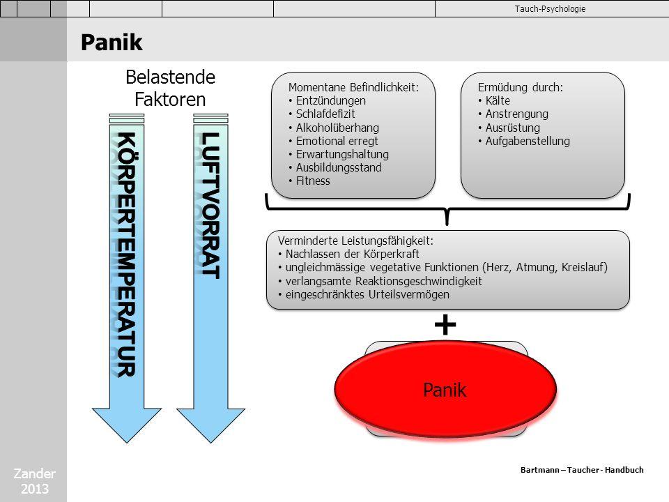 Zander 2013 Tauch-Psychologie Panik Belastende Faktoren Momentane Befindlichkeit: Entzündungen Schlafdefizit Alkoholüberhang Emotional erregt Erwartun