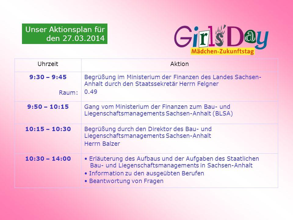 Unser Aktionsplan für den 27.03.2014 UhrzeitAktion 9:30 – 9:45 Raum: Begrüßung im Ministerium der Finanzen des Landes Sachsen- Anhalt durch den Staats