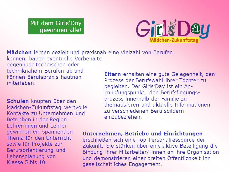 Mit dem GirlsDay gewinnen alle! Eltern erhalten eine gute Gelegenheit, den Prozess der Berufswahl ihrer Töchter zu begleiten. Der GirlsDay ist ein An-