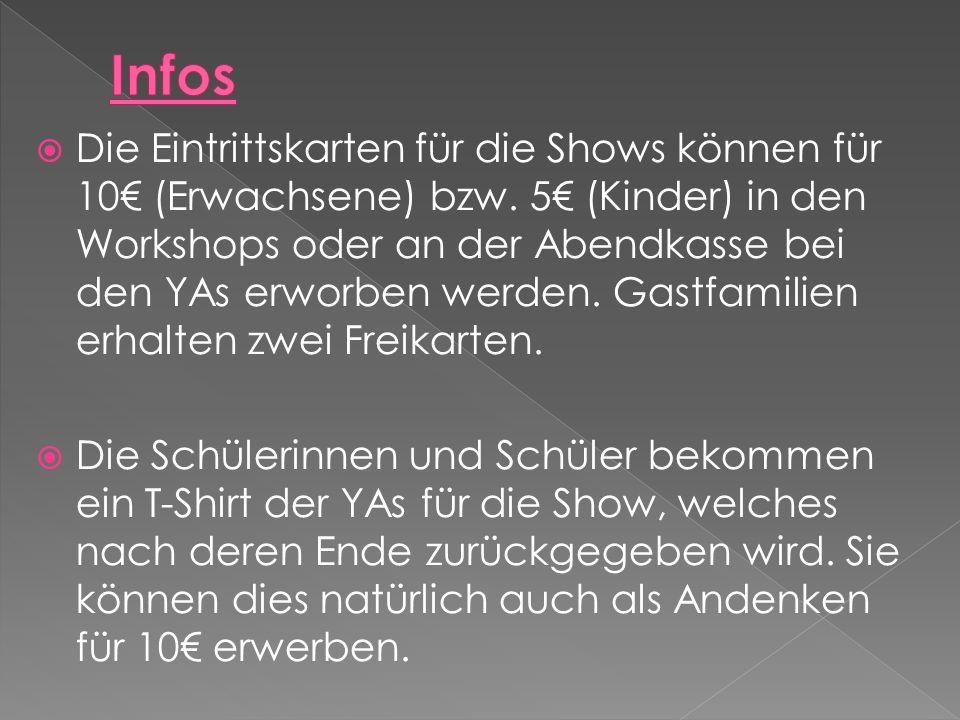 Die Eintrittskarten für die Shows können für 10 (Erwachsene) bzw.