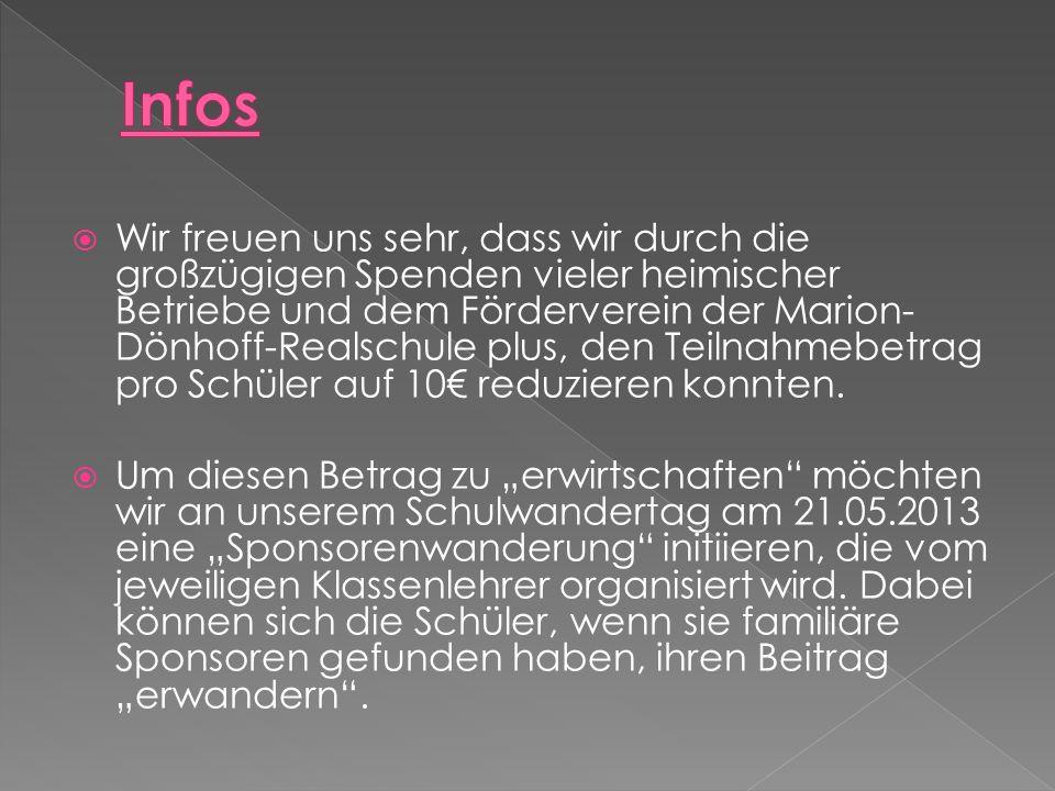 Wir freuen uns sehr, dass wir durch die großzügigen Spenden vieler heimischer Betriebe und dem Förderverein der Marion- Dönhoff-Realschule plus, den Teilnahmebetrag pro Schüler auf 10 reduzieren konnten.