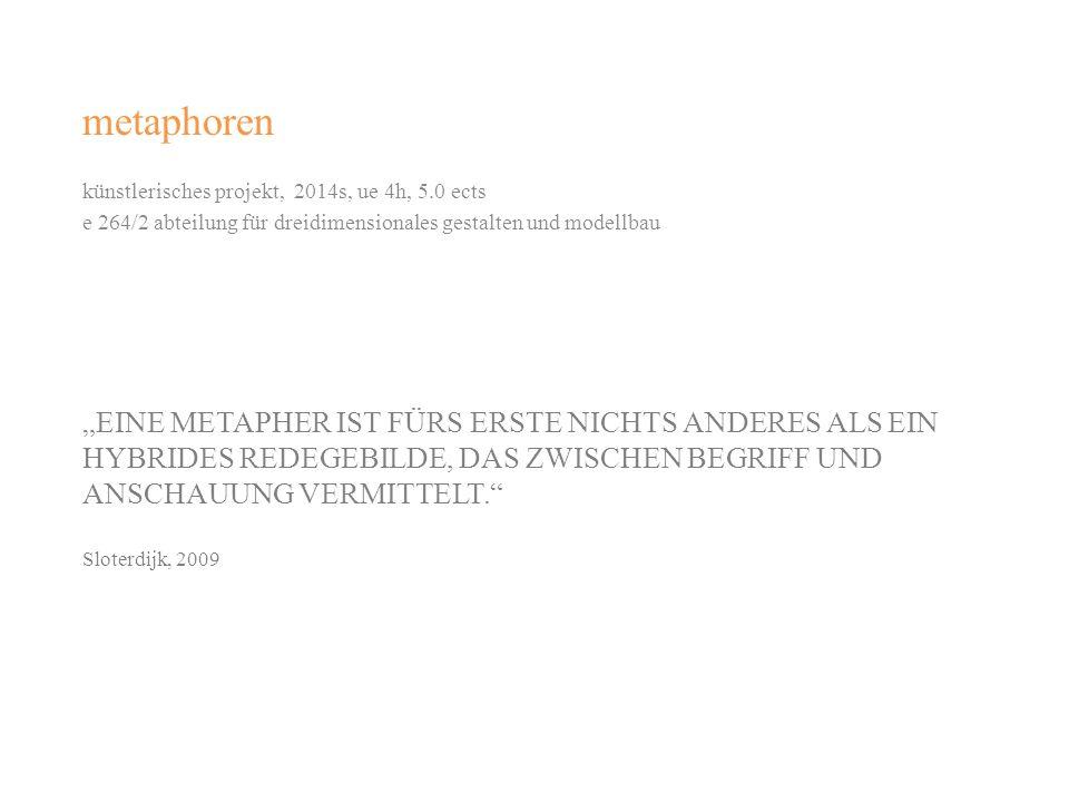 EINE METAPHER IST FÜRS ERSTE NICHTS ANDERES ALS EIN HYBRIDES REDEGEBILDE, DAS ZWISCHEN BEGRIFF UND ANSCHAUUNG VERMITTELT. Sloterdijk, 2009 metaphoren