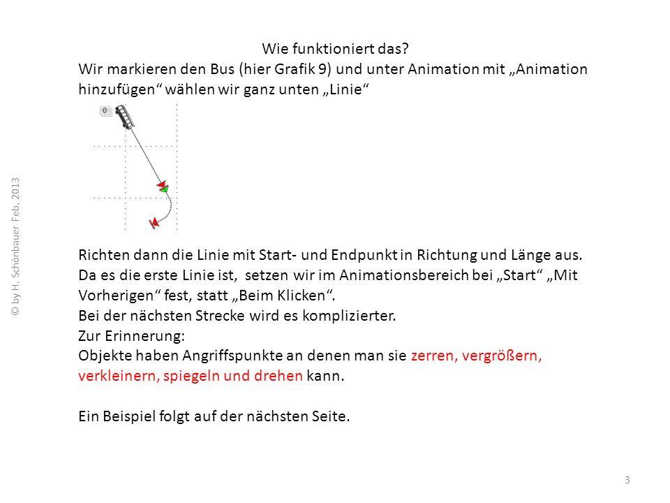 Wie funktioniert das? Wir markieren den Bus (hier Grafik 9) und unter Animation mit Animation hinzufügen wählen wir ganz unten Linie Richten dann die