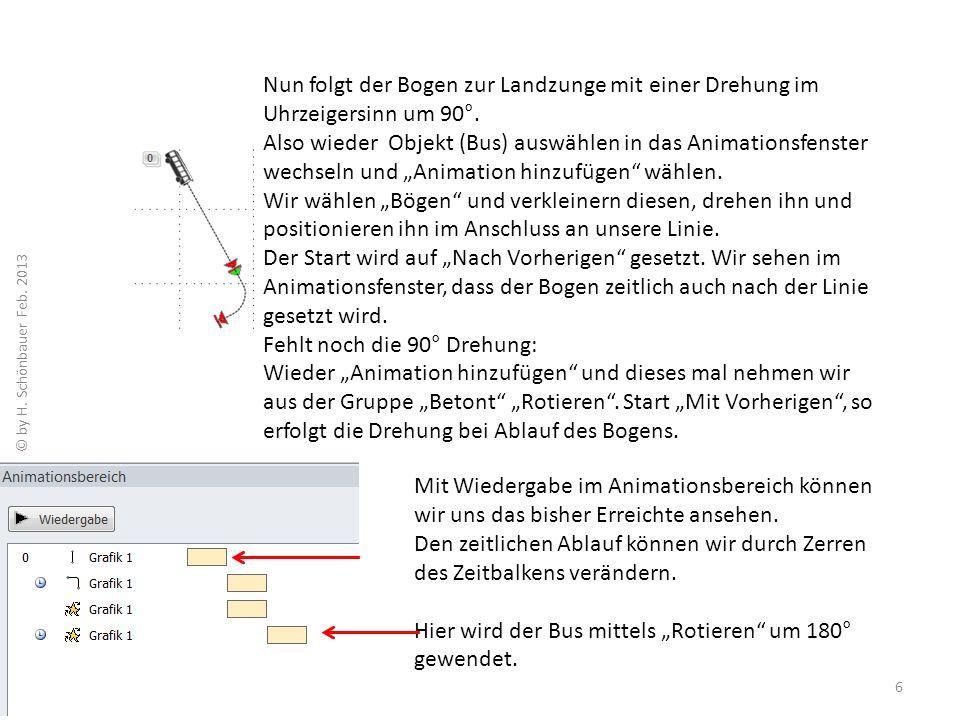 Eigenschaften im Animationsbereich ändern: Zu diesem Zweck klicken wir mit der rechten Maustaste auf den Zeitbalken, wählen Effektoptionen und stellen im neuen Fenster, in diesem Fall das Wenden des Busses, auf 180° ein.