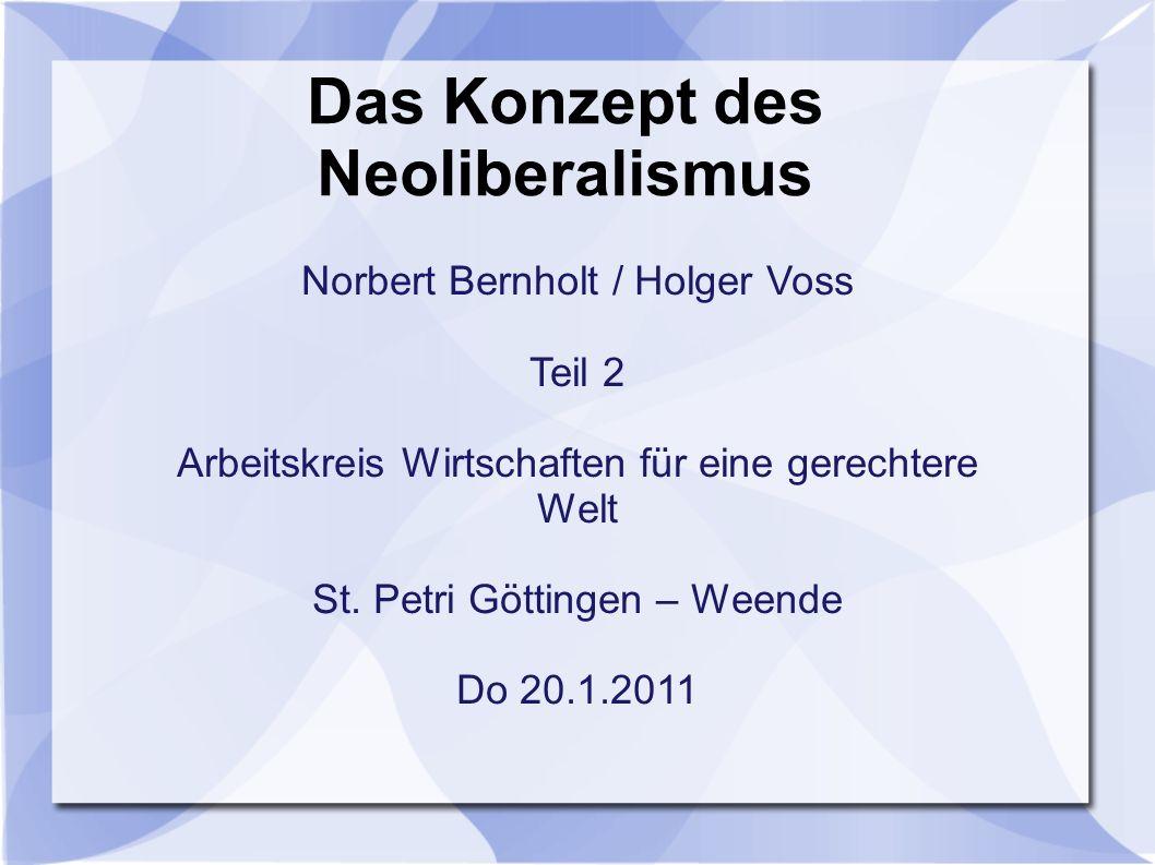 Das Konzept des Neoliberalismus Norbert Bernholt / Holger Voss Teil 2 Arbeitskreis Wirtschaften für eine gerechtere Welt St.