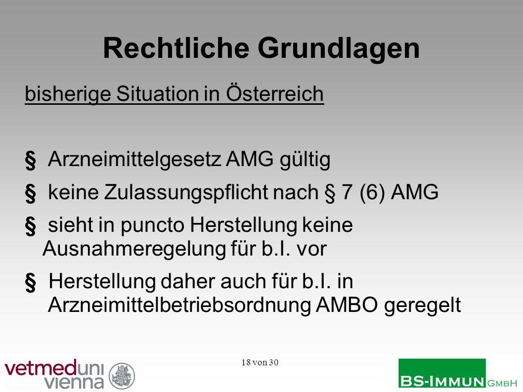 18 von 30 Rechtliche Grundlagen bisherige Situation in Österreich §Arzneimittelgesetz AMG gültig §keine Zulassungspflicht nach § 7 (6) AMG § sieht in