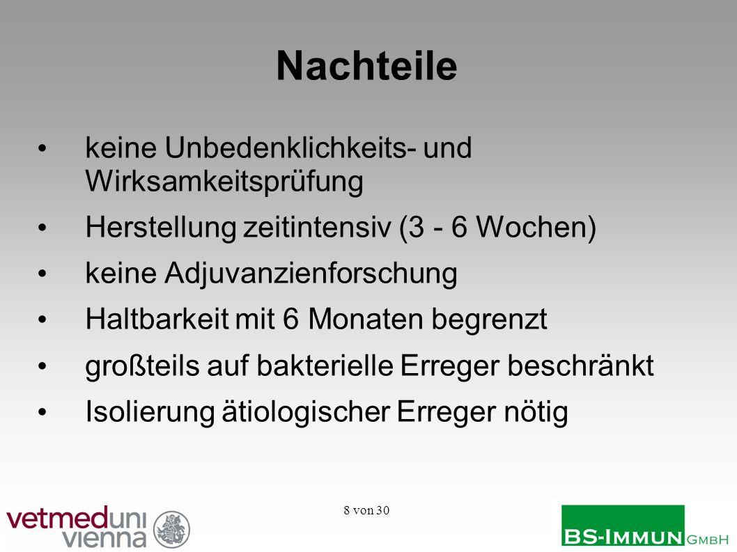 29 von 30 Vorteile inländischer Produktion Kontrolle obliegt österreichischen Behörden Reduktion von Transportwegen, -zeiten und -kosten Sonderimport entfällt guter Kontakt des Tierarztes mit Hersteller und Diagnostiklabor