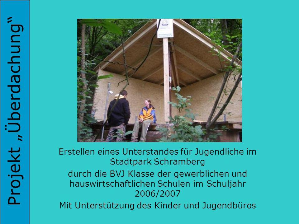 Projekt Überdachung Erstellen eines Unterstandes für Jugendliche im Stadtpark Schramberg durch die BVJ Klasse der gewerblichen und hauswirtschaftliche