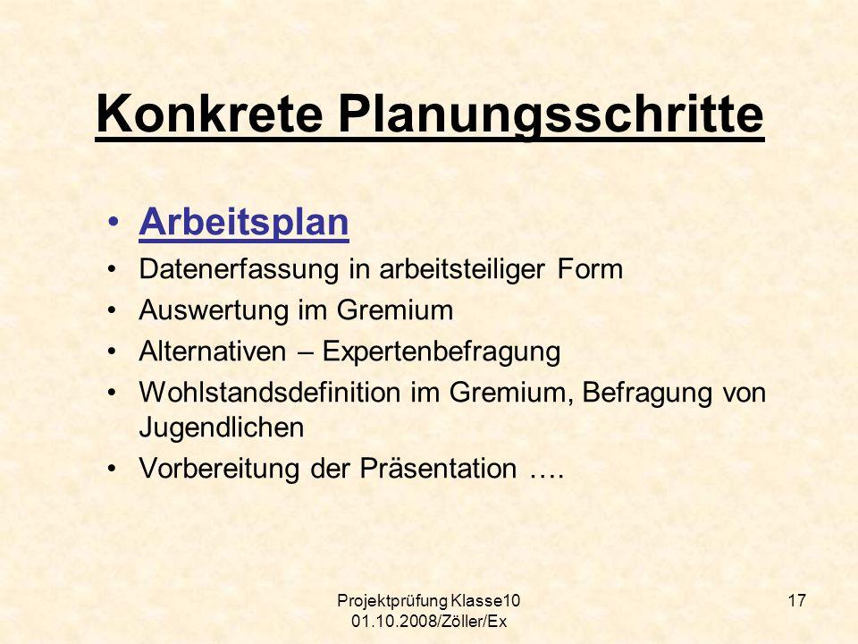 Projektprüfung Klasse10 01.10.2008/Zöller/Ex 17 Konkrete Planungsschritte Arbeitsplan Datenerfassung in arbeitsteiliger Form Auswertung im Gremium Alt