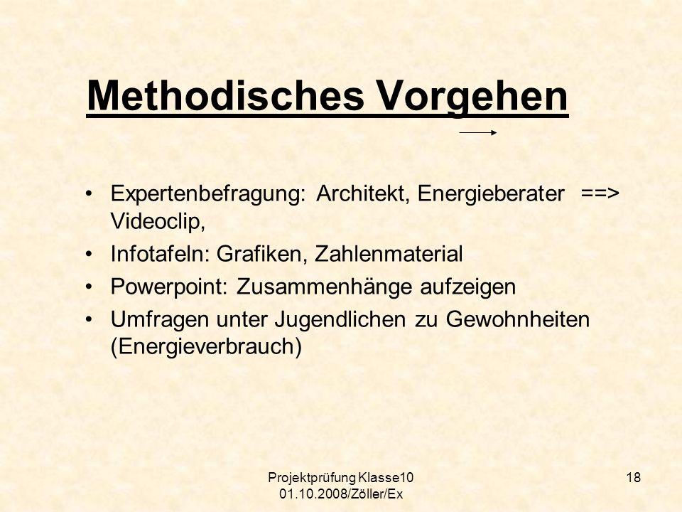 Projektprüfung Klasse10 01.10.2008/Zöller/Ex 18 Methodisches Vorgehen Expertenbefragung: Architekt, Energieberater ==> Videoclip, Infotafeln: Grafiken