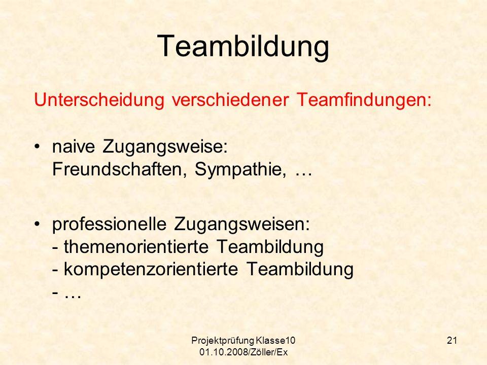 Projektprüfung Klasse10 01.10.2008/Zöller/Ex 21 Teambildung Unterscheidung verschiedener Teamfindungen: naive Zugangsweise: Freundschaften, Sympathie,