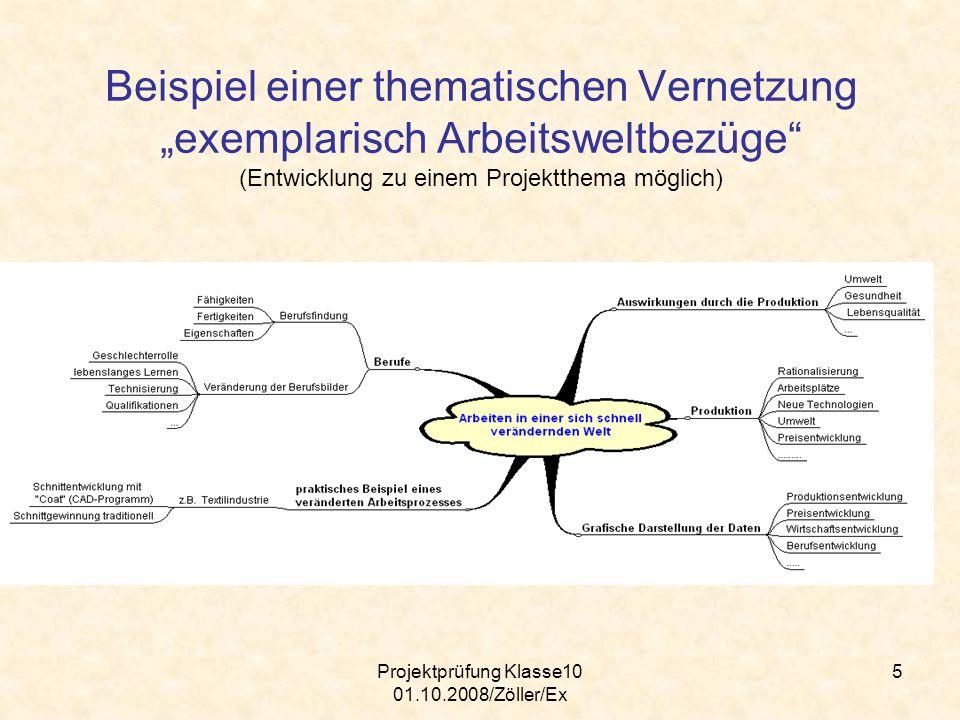 Projektprüfung Klasse10 01.10.2008/Zöller/Ex 5 Beispiel einer thematischen Vernetzung exemplarisch Arbeitsweltbezüge (Entwicklung zu einem Projektthem
